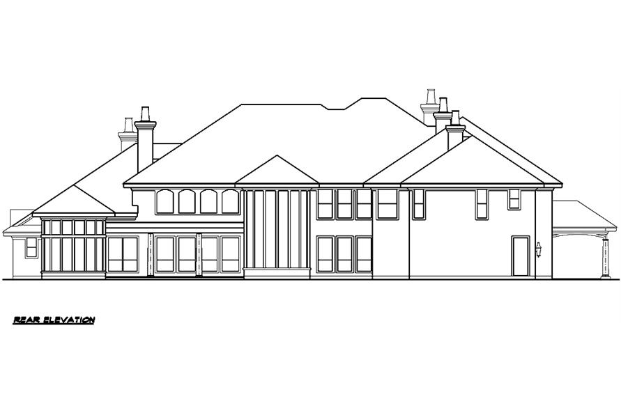 Home Plan Rear Elevation of this 5-Bedroom,10325 Sq Ft Plan -195-1029
