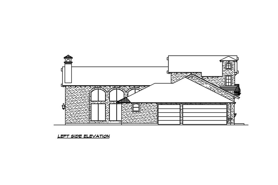 Home Plan Left Elevation of this 4-Bedroom,2845 Sq Ft Plan -195-1030