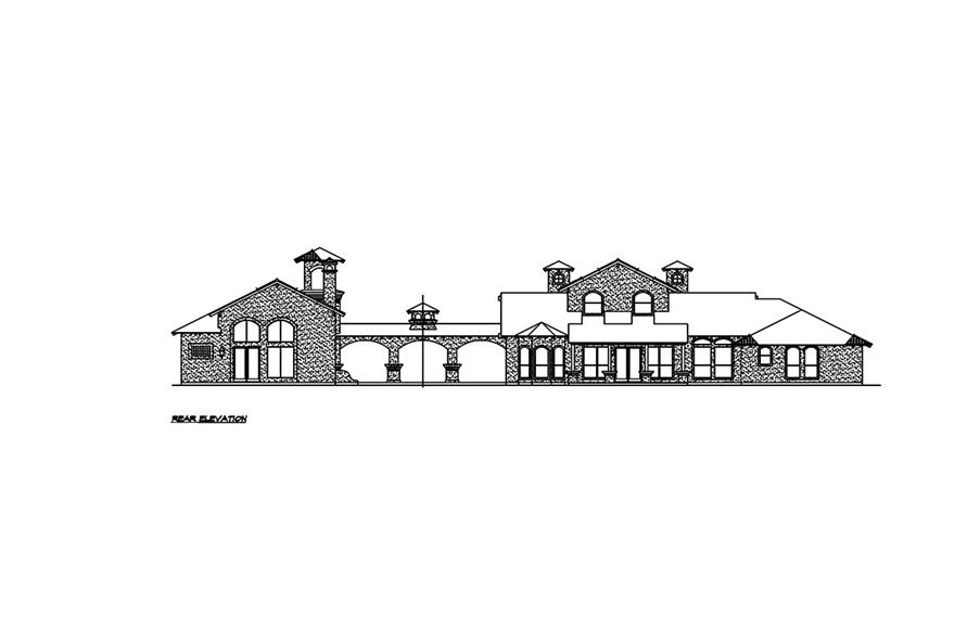 Home Plan Rear Elevation of this 4-Bedroom,2845 Sq Ft Plan -195-1030