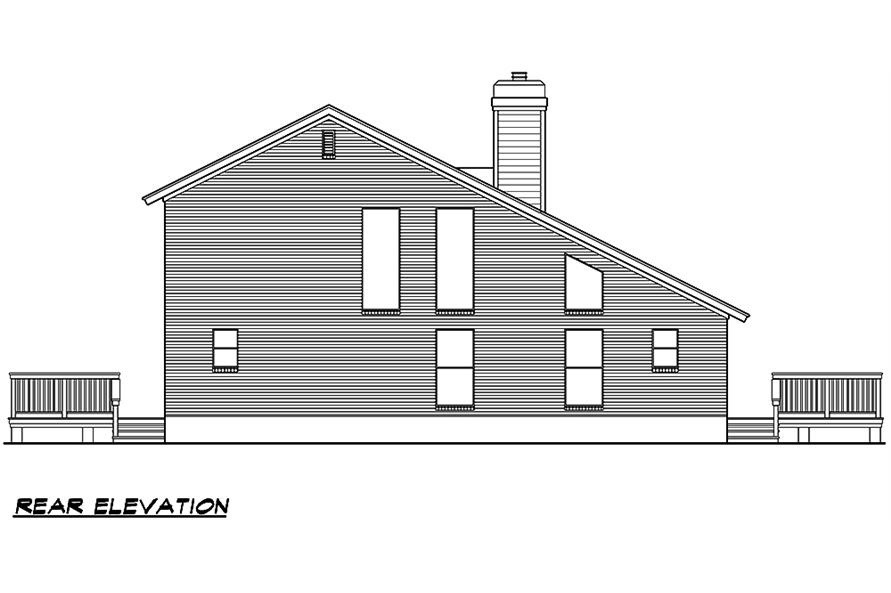 Home Plan Rear Elevation of this 3-Bedroom,1526 Sq Ft Plan -195-1031
