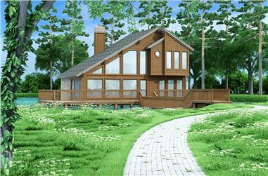Color rendering of Vacation home plan (ThePlanCollection: House Plan #195-1031)