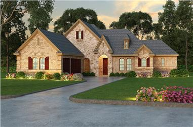 3-Bedroom, 2703 Sq Ft Tudor House Plan - 195-1032 - Front Exterior