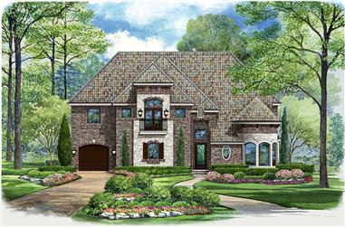 Front elevation of Mediterranean home (ThePlanCollection: House Plan #195-1037)