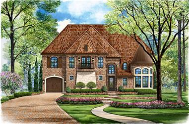 Front elevation of Mediterranean home (ThePlanCollection: House Plan #195-1039)