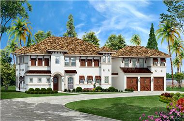 5-Bedroom, 4251 Sq Ft Mediterranean House Plan - 195-1041 - Front Exterior