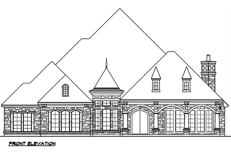 Home Plan Front Elevation of this 4-Bedroom,4977 Sq Ft Plan -195-1046
