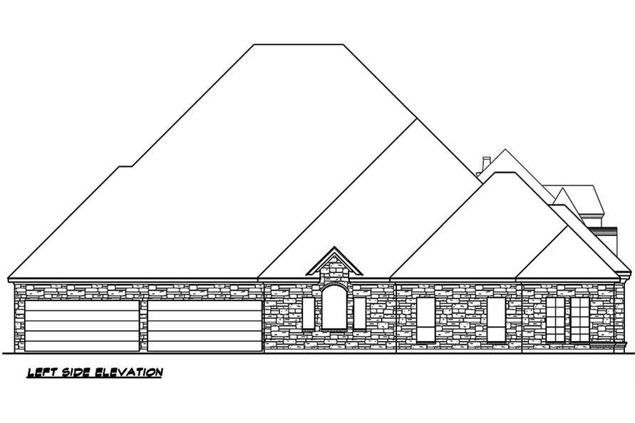 Home Plan Left Elevation of this 4-Bedroom,4977 Sq Ft Plan -195-1046