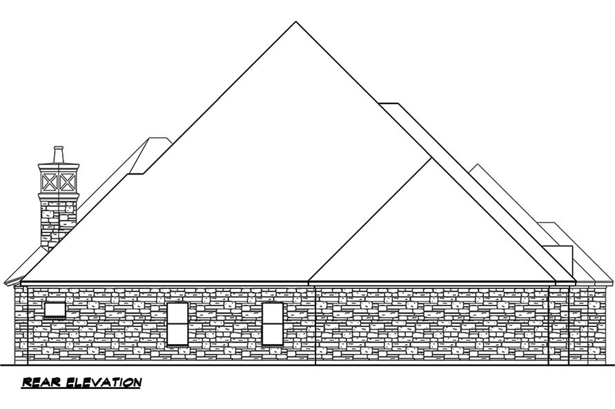 Home Plan Rear Elevation of this 4-Bedroom,4977 Sq Ft Plan -195-1046