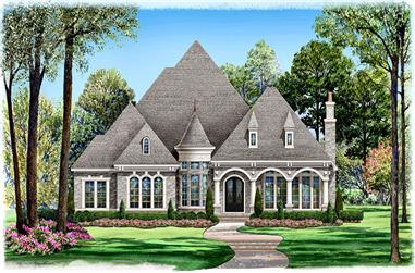 Front elevation of Mediterranean home (ThePlanCollection: House Plan #195-1046)