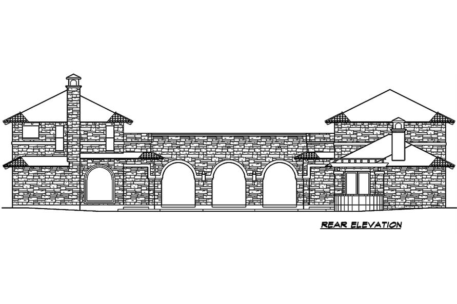 Home Plan Rear Elevation of this 4-Bedroom,3689 Sq Ft Plan -195-1048
