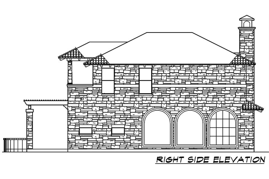 Home Plan Right Elevation of this 4-Bedroom,3689 Sq Ft Plan -195-1048