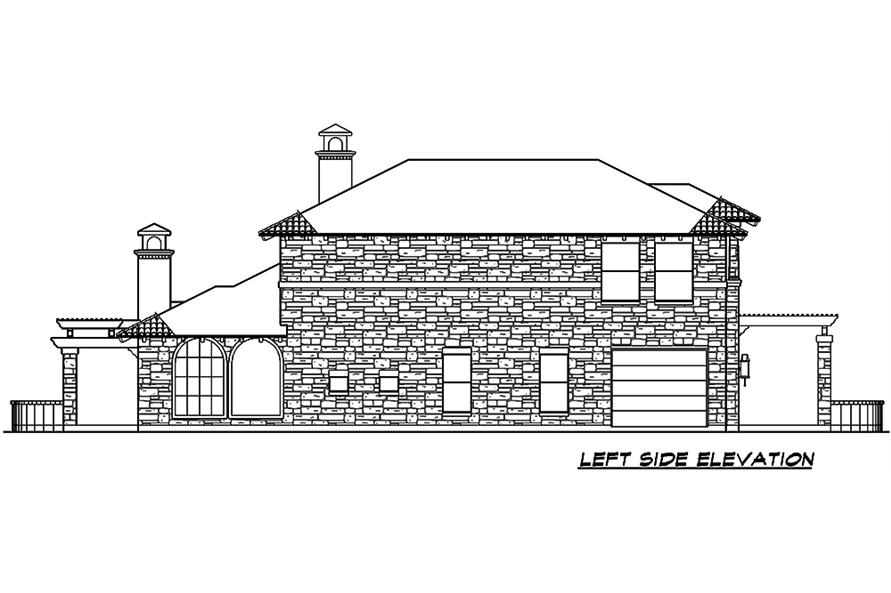 Home Plan Left Elevation of this 4-Bedroom,3689 Sq Ft Plan -195-1048