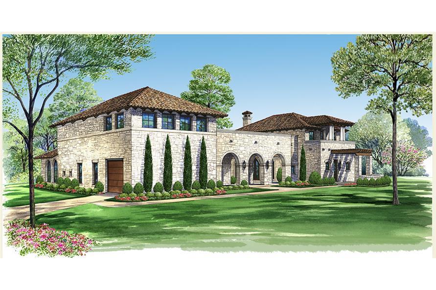 4-Bedroom, 3689 Sq Ft Mediterranean House Plan - 195-1048 - Front Exterior