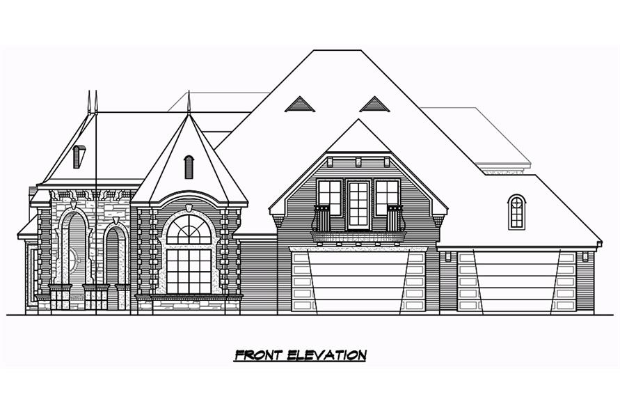 Home Plan Front Elevation of this 3-Bedroom,3043 Sq Ft Plan -195-1049