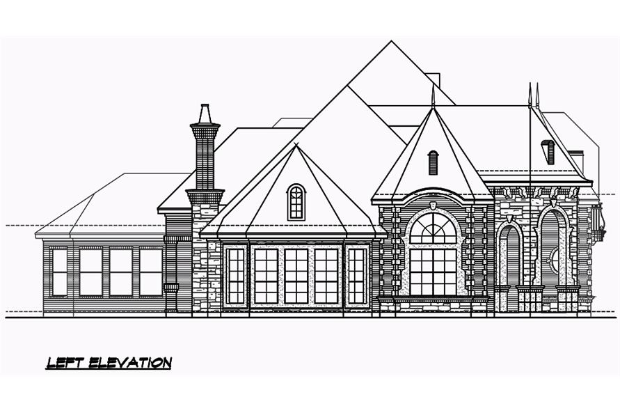 Home Plan Left Elevation of this 3-Bedroom,3043 Sq Ft Plan -195-1049