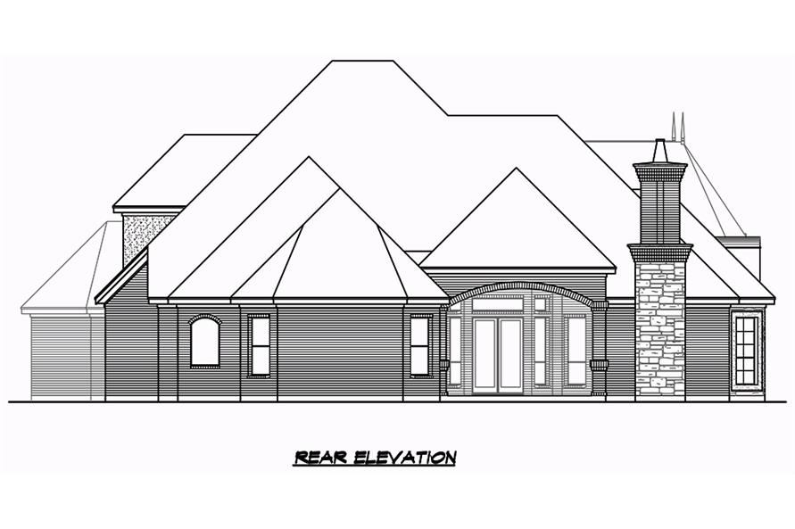 Home Plan Rear Elevation of this 3-Bedroom,3043 Sq Ft Plan -195-1049