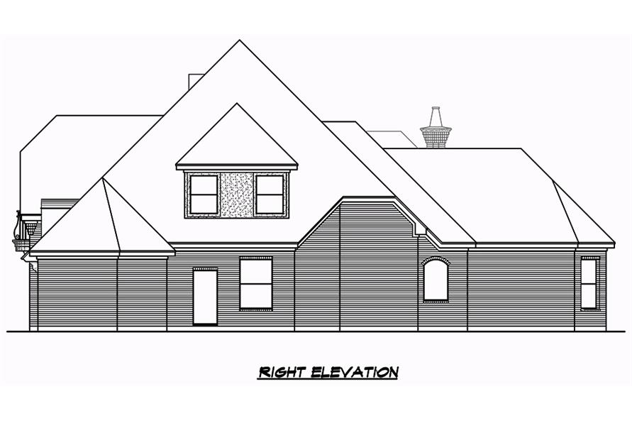 Home Plan Right Elevation of this 3-Bedroom,3043 Sq Ft Plan -195-1049