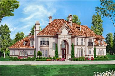 Front elevation of Mediterranean home (ThePlanCollection: House Plan #195-1050)