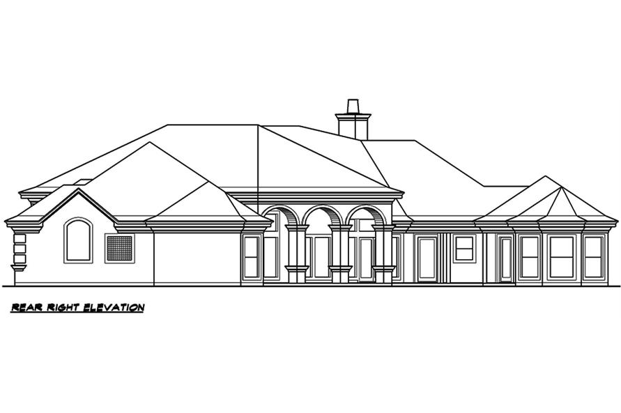 Home Plan Rear Elevation of this 3-Bedroom,5108 Sq Ft Plan -195-1051