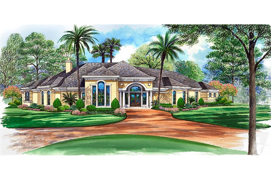 3-Bedroom, 5108 Sq Ft Mediterranean Home Plan - 195-1051 - Main Exterior