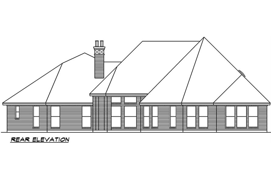Home Plan Rear Elevation of this 3-Bedroom,3267 Sq Ft Plan -195-1053