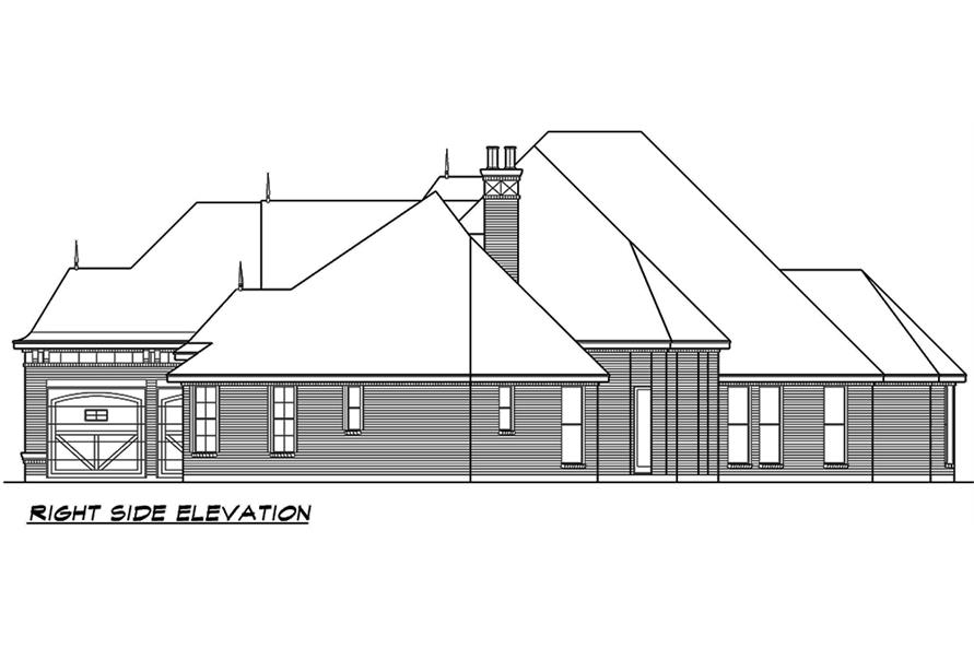 Home Plan Right Elevation of this 3-Bedroom,3267 Sq Ft Plan -195-1053
