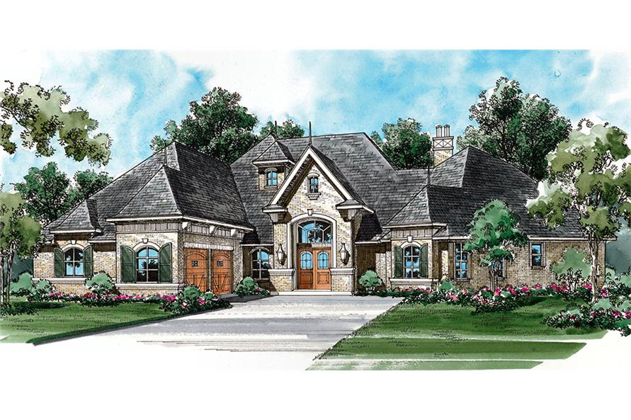 3-Bedroom, 3267 Sq Ft Mediterranean House Plan - 195-1053 - Front Exterior