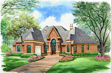 Front elevation of Mediterranean home (ThePlanCollection: House Plan #195-1054)