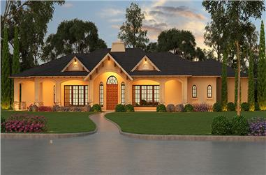 3-Bedroom, 5599 Sq Ft Tudor House Plan - 195-1055 - Front Exterior