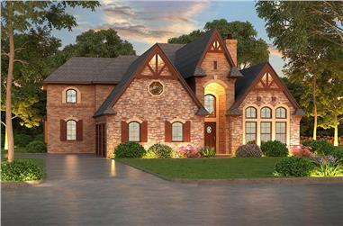 4-Bedroom, 4897 Sq Ft Tudor House Plan - 195-1056 - Front Exterior