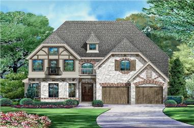 3-Bedroom, 3407 Sq Ft Tudor Home Plan - 195-1061 - Main Exterior