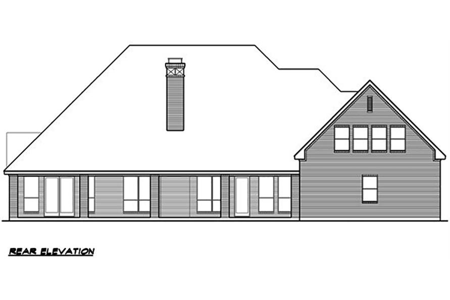 Home Plan Rear Elevation of this 4-Bedroom,4265 Sq Ft Plan -195-1063