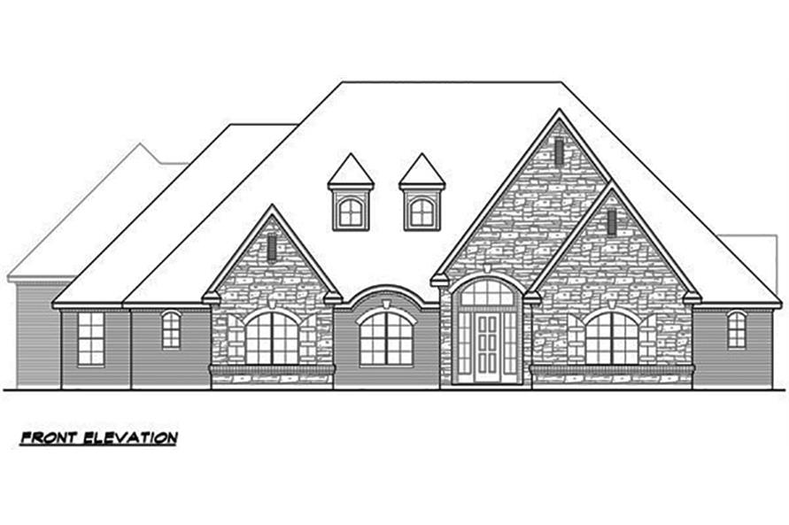 Home Plan Front Elevation of this 4-Bedroom,4265 Sq Ft Plan -195-1063