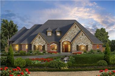 4-Bedroom, 4265 Sq Ft Tudor Home Plan - 195-1063 - Main Exterior
