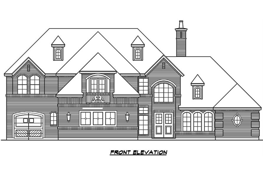 Home Plan Front Elevation of this 5-Bedroom,5041 Sq Ft Plan -195-1066