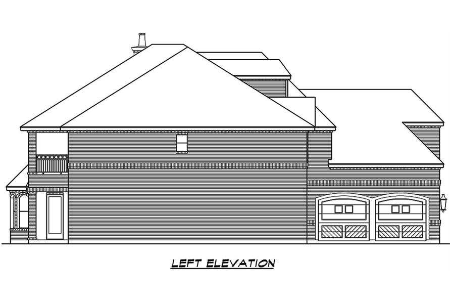 Home Plan Left Elevation of this 5-Bedroom,5041 Sq Ft Plan -195-1066