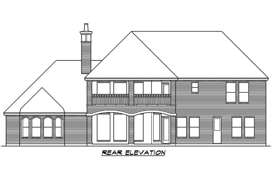 Home Plan Rear Elevation of this 5-Bedroom,5041 Sq Ft Plan -195-1066