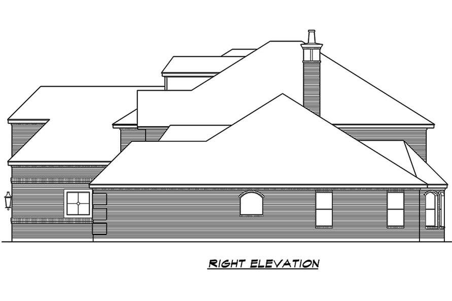 Home Plan Right Elevation of this 5-Bedroom,5041 Sq Ft Plan -195-1066