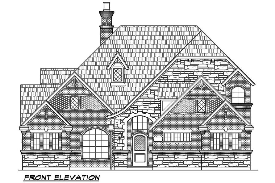 195-1067: Home Plan Front Elevation