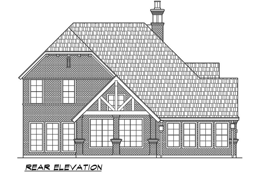 195-1067: Home Plan Rear Elevation