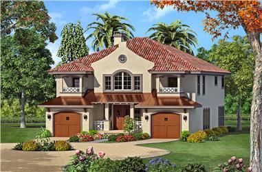 4-Bedroom, 3585 Sq Ft Mediterranean House Plan - 195-1071 - Front Exterior