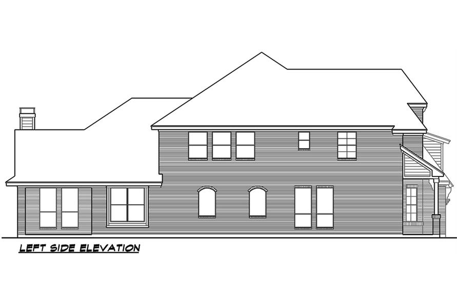 Home Plan Left Elevation of this 3-Bedroom,3818 Sq Ft Plan -195-1075