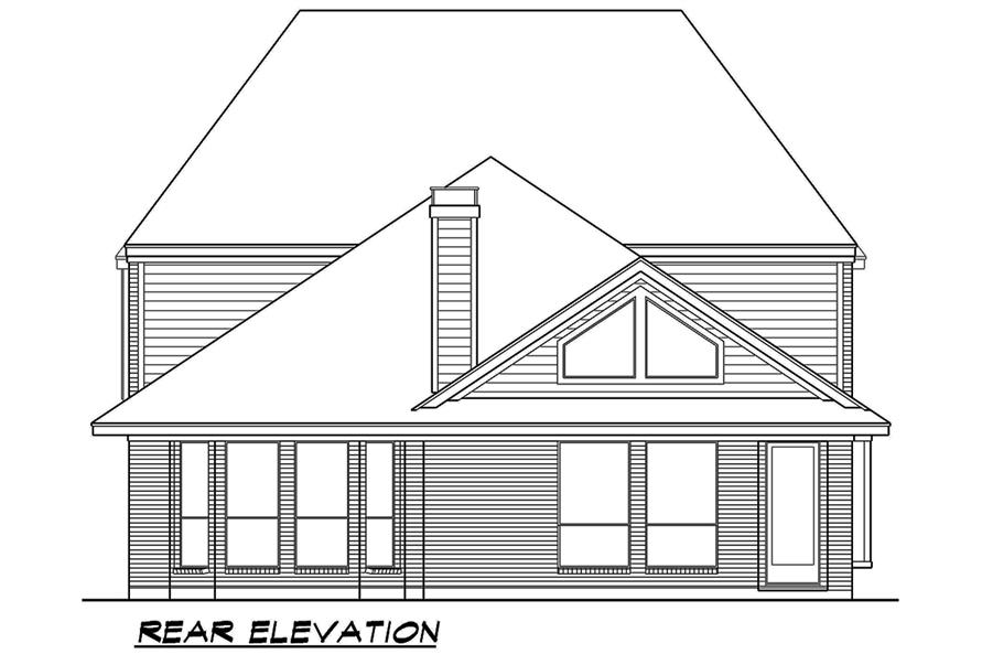 Home Plan Rear Elevation of this 3-Bedroom,3818 Sq Ft Plan -195-1075