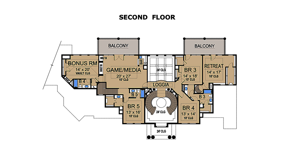 5 bedrm 7215 sq ft mediterranean house plan 195 1077 for 1077 marinaside crescent floor plan