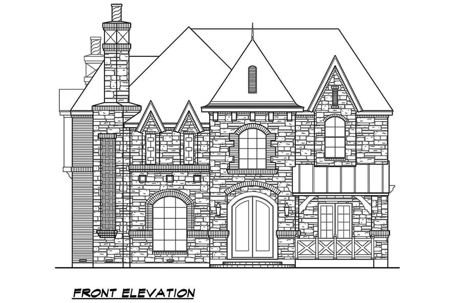 Home Plan Front Elevation of this 5-Bedroom,5760 Sq Ft Plan -195-1079