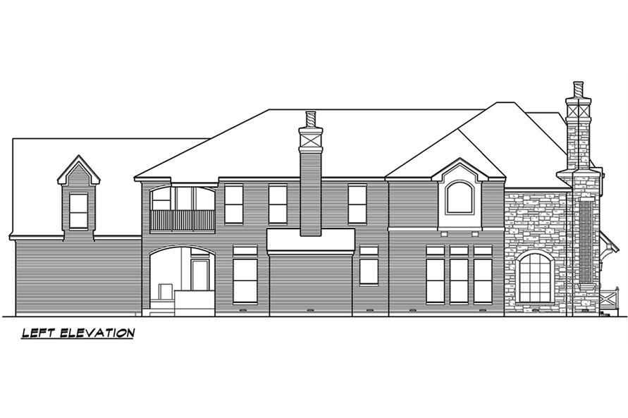 Home Plan Left Elevation of this 5-Bedroom,5760 Sq Ft Plan -195-1079