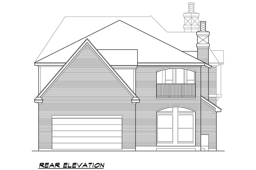 Home Plan Rear Elevation of this 5-Bedroom,5760 Sq Ft Plan -195-1079