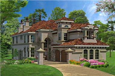 3-Bedroom, 4281 Sq Ft Mediterranean Home Plan - 195-1082 - Main Exterior