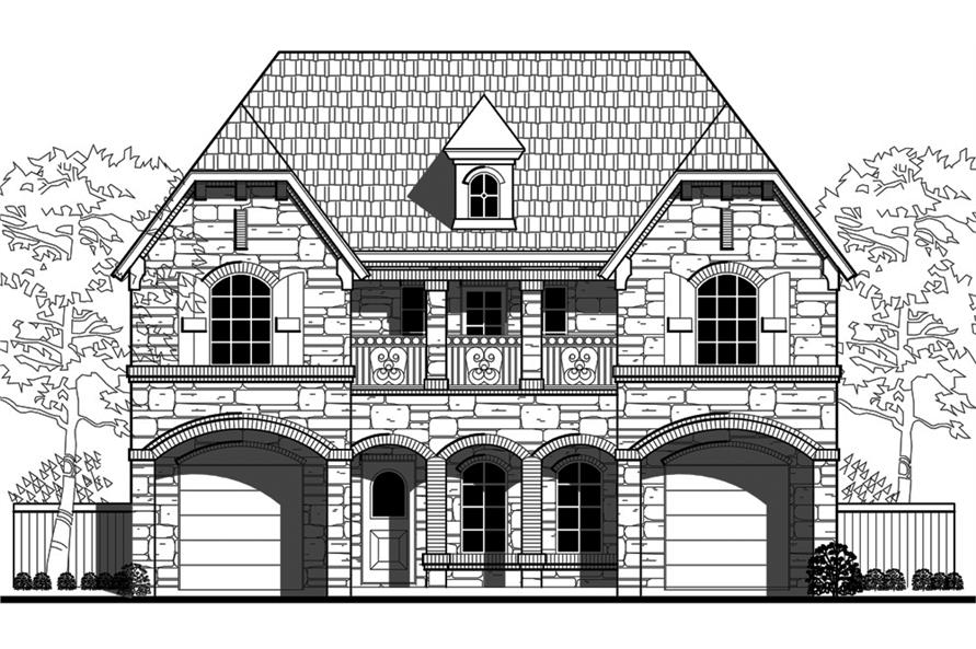 Home Plan Front Elevation of this 4-Bedroom,3552 Sq Ft Plan -195-1088