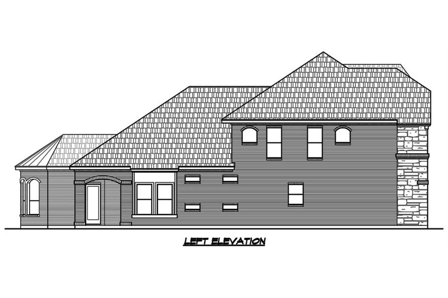 Home Plan Left Elevation of this 4-Bedroom,3552 Sq Ft Plan -195-1088